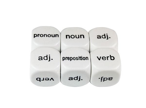 Parts of Speech Dice #2 18mm (pack of 5)