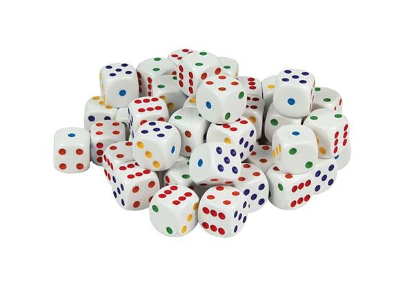 Brightly Coloured Spot Dice: 6 Face Dot 16mm (Pack of 20)