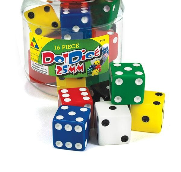 16 Large Dice: 6 Face Dot 25mm in a Sturdy Jar