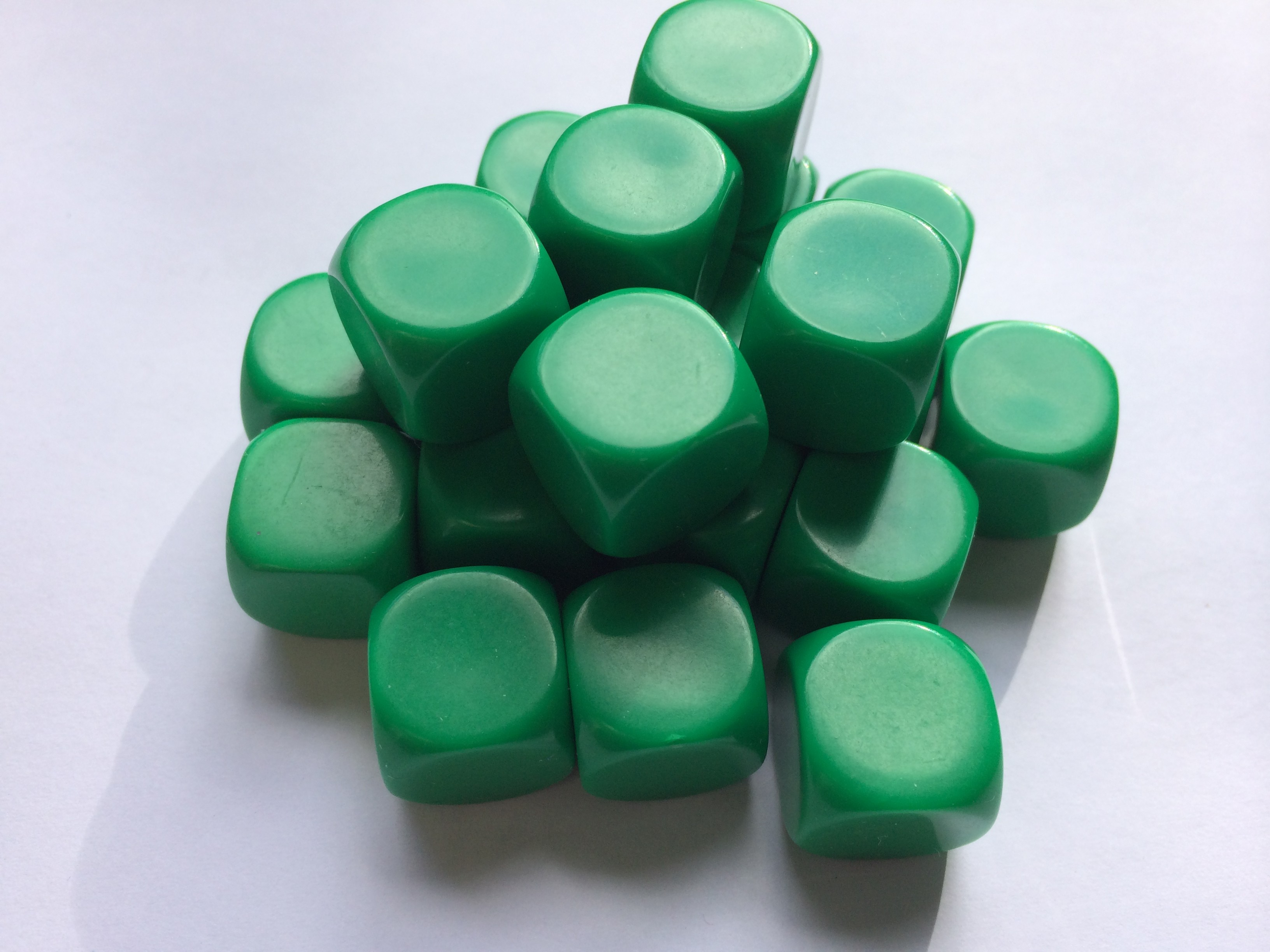 Blank Dice pack of 20 Re-writeable Green