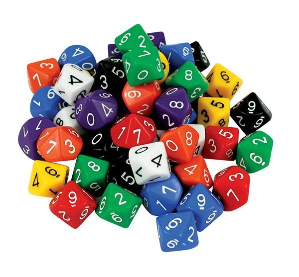 D10 Dice: 10 Face 0-9 (pack of 50)