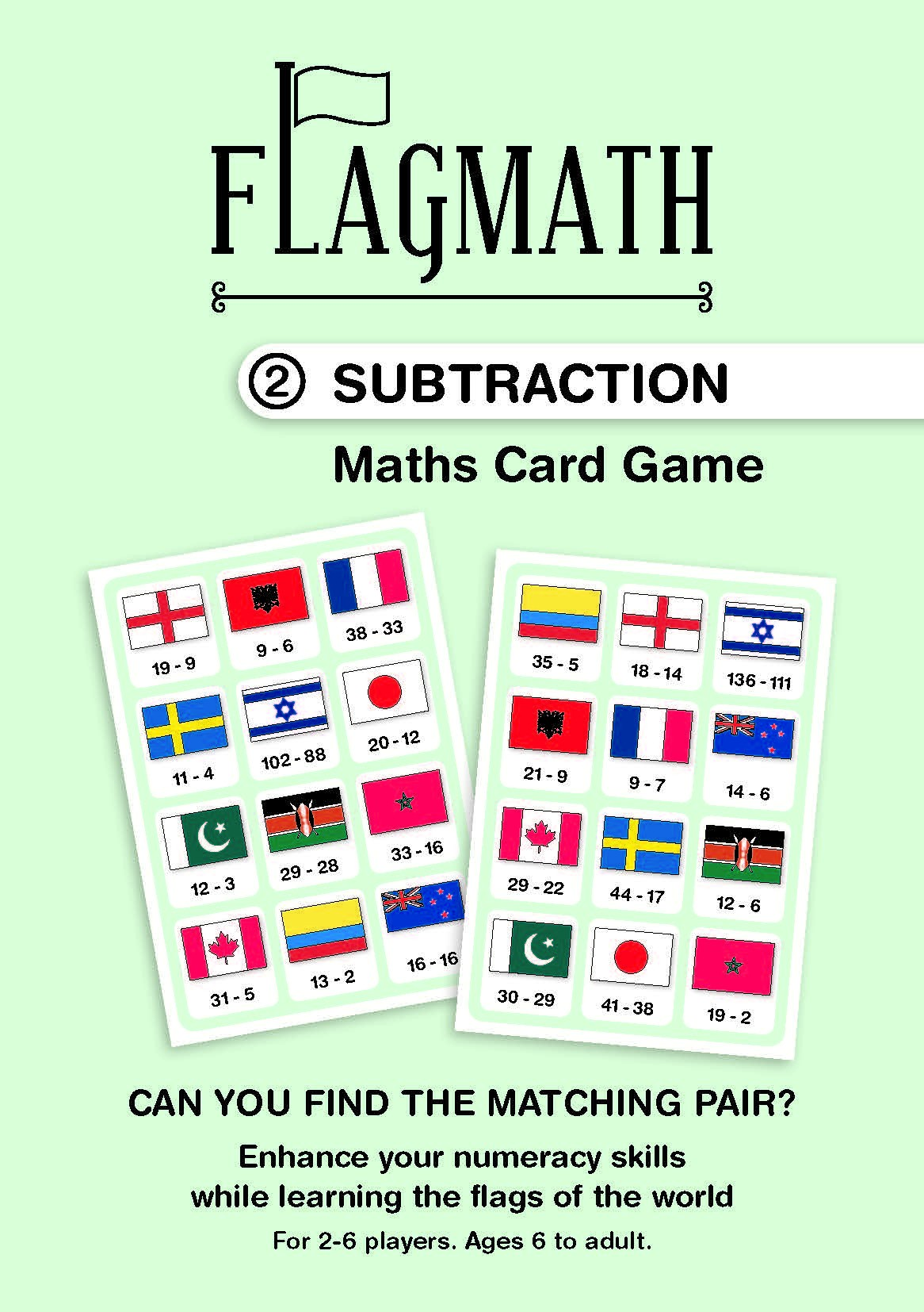 FlagMath - Subtraction: Mathematics Card Game