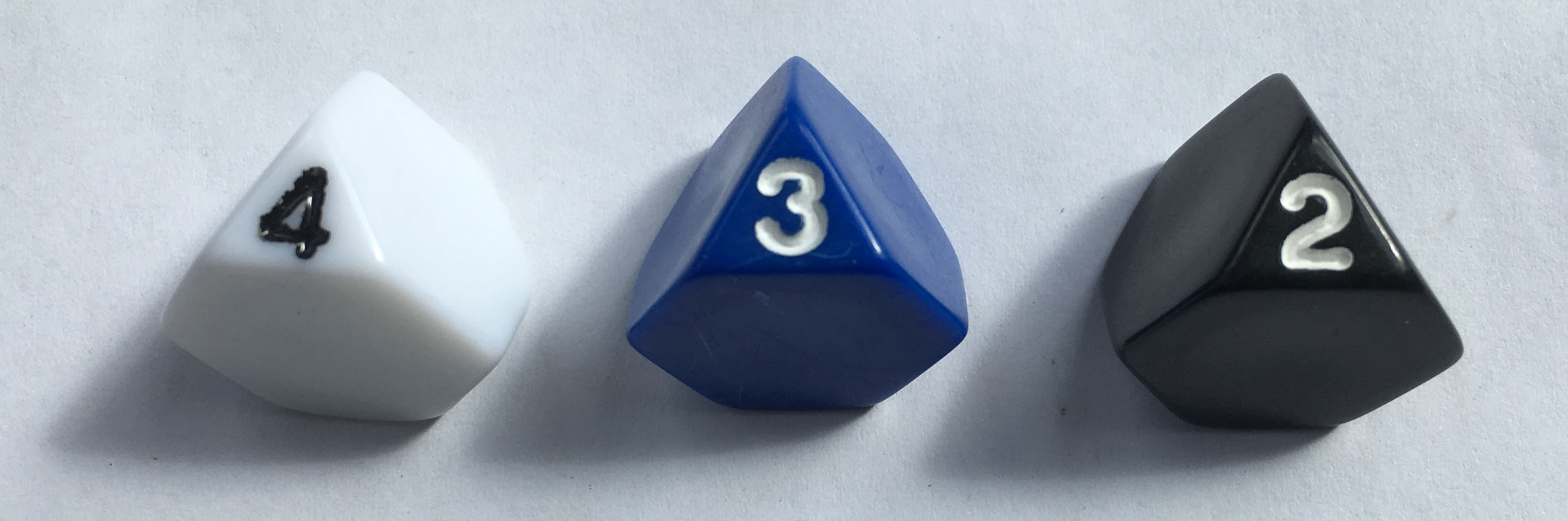 Truncated 4 Sided Dice - Set of 3 D4