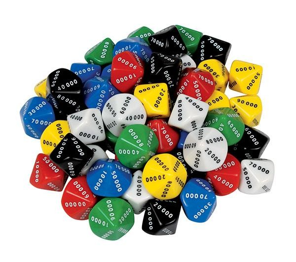 d10 dice 10 face 00000 90000 pack of 50 tarquin group