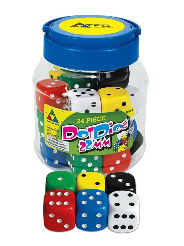 Jar of 24 Dice: 6 Face Dot 22mm