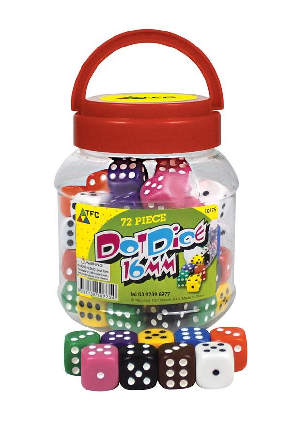 Jar of 72 Dice: 6 Face Dot 16mm