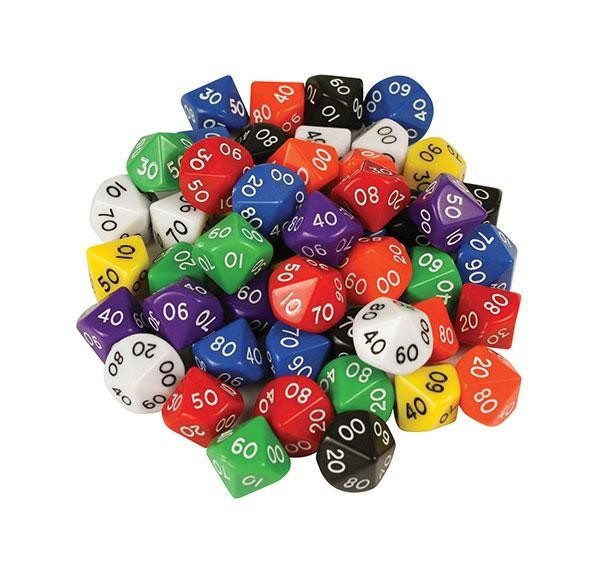 10 sided dice numbered 00-99 D10