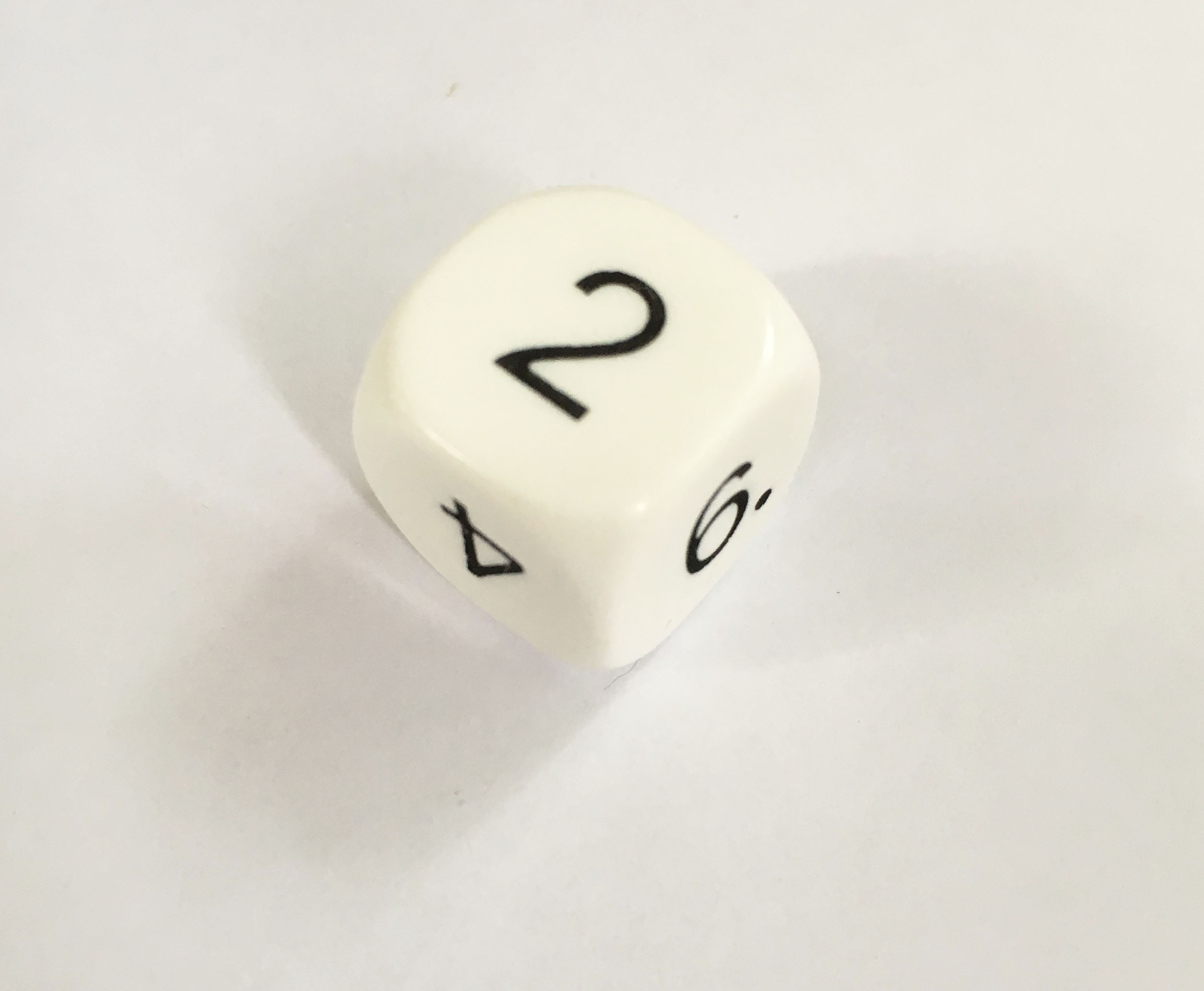 White 16mm single die numbered 1-6