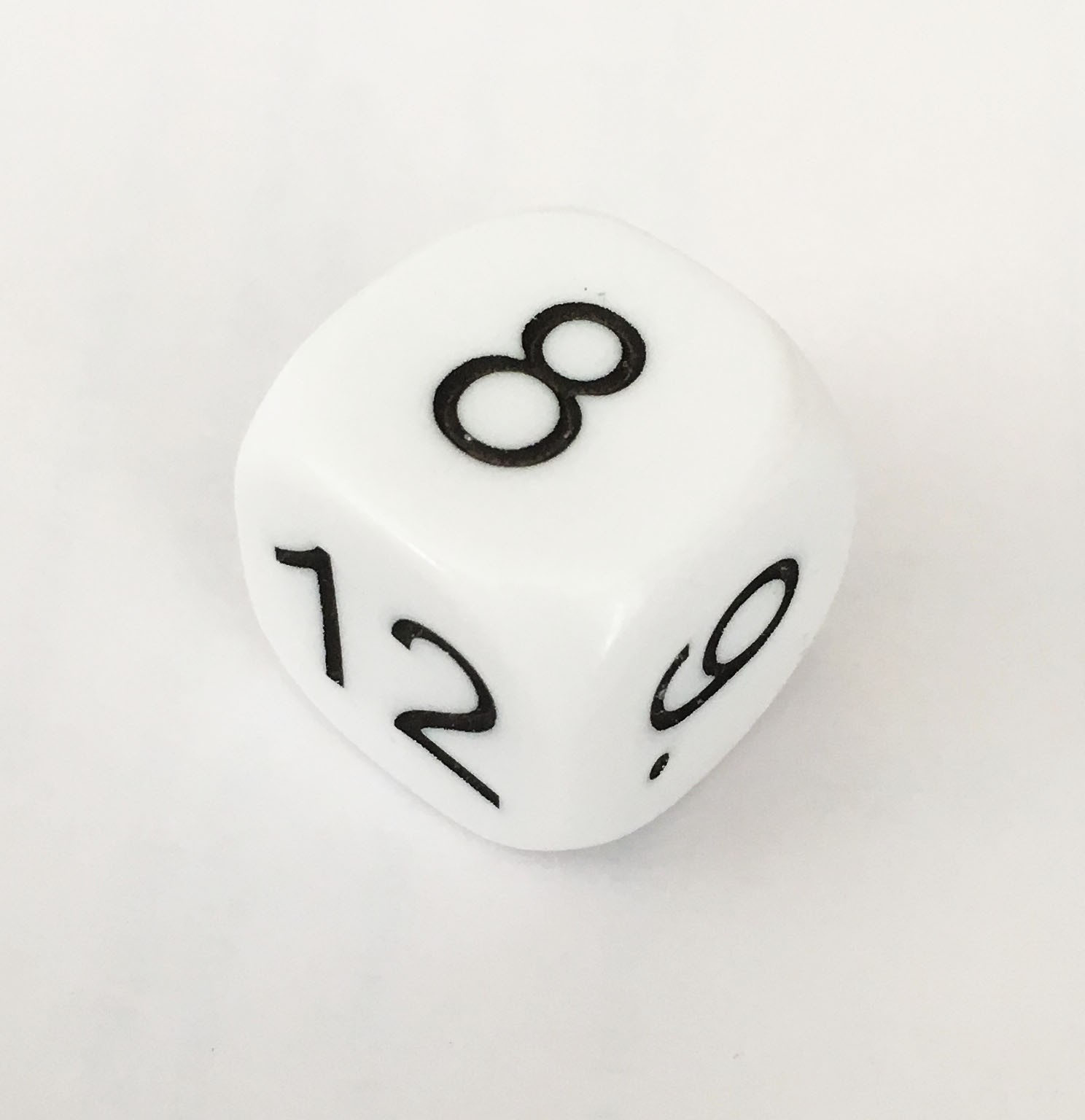Single digit dice numbered 7-12