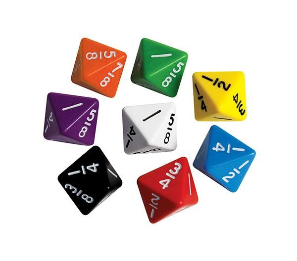 FRACTIONS DICE: 8ths D8 (PACK OF 5)
