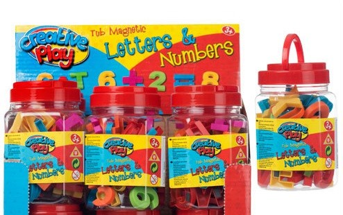 tub of magnetic letters and numbers