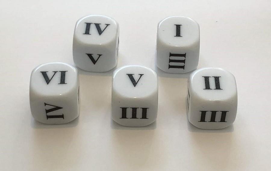 Roman Numeral Dice I-VI