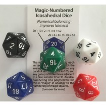 Magic-Numbered Icosahedral Dice (Set of 5 Truly Fair D20)