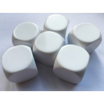 Large Blank White Dice - Set of 6 22mm Rounded
