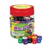 A Jar of 100 Dice: 6 Face Numbers (100 16mm dice, 6 colours)