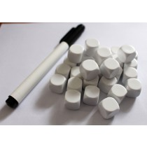 Blank Dice pack of 30 Re-writeable White with Dry Wipe Marker Pen