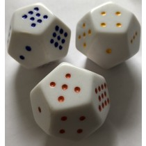 D12 Coloured Spot Dice