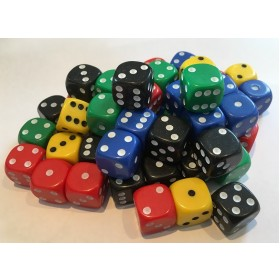 50 Good Quality Larger Dice 16mm 10 each of 5 colours