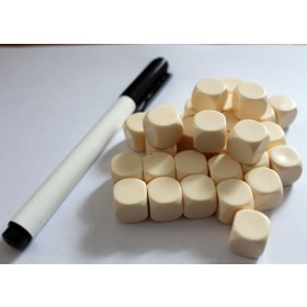 Blank Dice pack of 30 Re-writeable Ivory with Dry Wipe Marker Pen