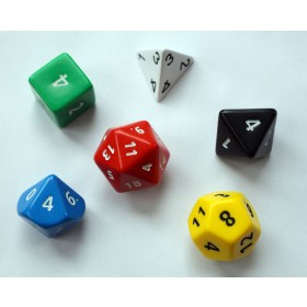 30mm Polyhedra Dice - 5 Platonic Solids and a 10 sided Double Pyramid
