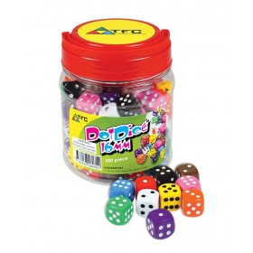 Jar of 100 Dice: 6 Face Dot 16mm