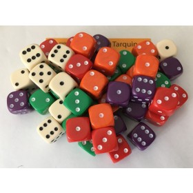 50 Good Quality Dice 14mm 10 each of 5 colours