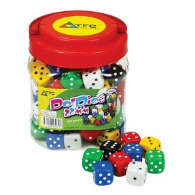 Jar of 100 Dice: 6 Face Dot 22mm