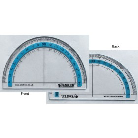 The Angler - Pack of 10 - A Quality 2 Sided 180 Degree Protractor that Helps Understand Angles
