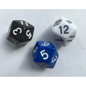 Truncated Rhombic Twelve Sided Dice - Set of 3 D12