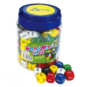 Jar of 100 Dice: 6 Face Words 1-6 16mm