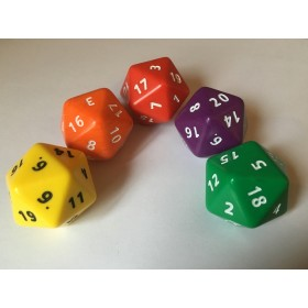 Jumbo D20 - Face Numbers 1-20 34mm (Pack of 5)