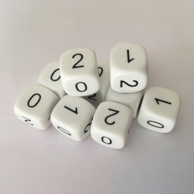 Base 3 Dice (pack of 12 D6 numbered 0-1-2)