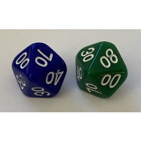Ten Sided Skew Dice - D10 Numbered 00 to 90