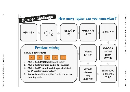 Revise for Success GCSE - Place Mats - Algebra and Number